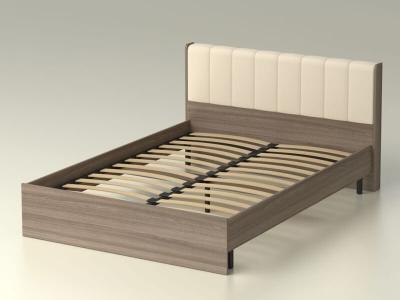 Кровать 140 Рондо с основанием Ясень шимо тёмный - эко-кожа бежевая