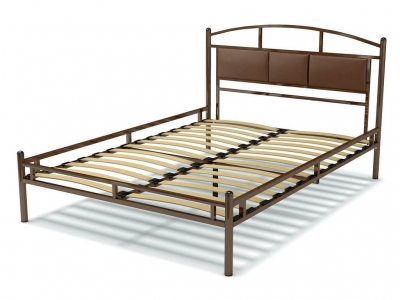 Кровать 140 Тая-3 металлическая Венге - эко-кожа коричневая