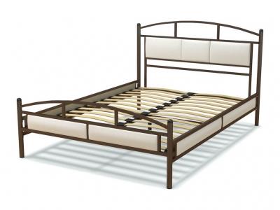 Кровать 140 Тая металлическая Венге - эко-кожа белая