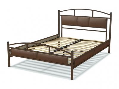 Кровать 140 Тая металлическая Венге - эко-кожа коричневая