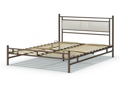 Кровать 160 Мелина металлическая Венге - эко-кожа