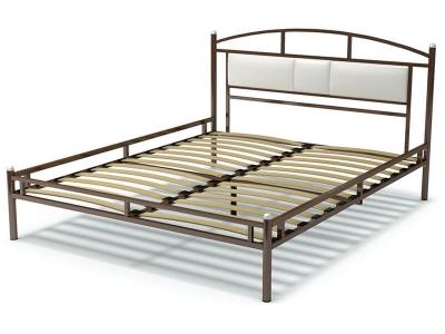 Кровать 160 Тая-3 металлическая Венге - эко-кожа белая
