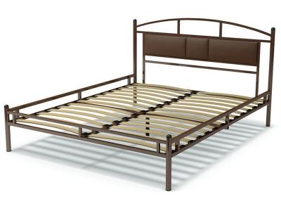 Кровать 160 Тая-3 металлическая Венге - эко-кожа коричневая