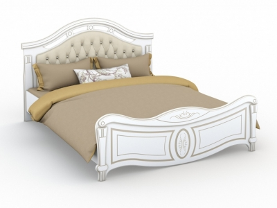 Кровать Александрина 160х200 с мягким изголовьем (без ламелей) Белый патина золото