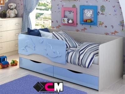 Кровать Алиса голубой металлик