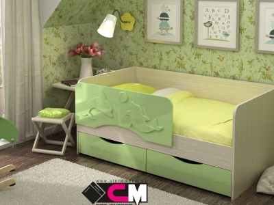 Кровать Алиса зеленый металлик