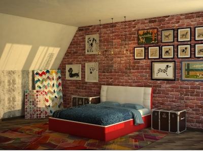 Кровать Boston белая спинка-красные царги
