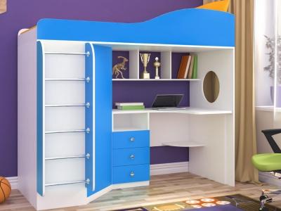 Кровать-чердак Кадет 1 с металлической лестницей белое дерево-голубой