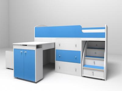 Кровать-чердак Малыш белое дерево-синий