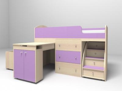 Кровать-чердак Малыш дуб-ирис