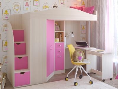 Кровать-чердак Юниор 4 дуб-розовый