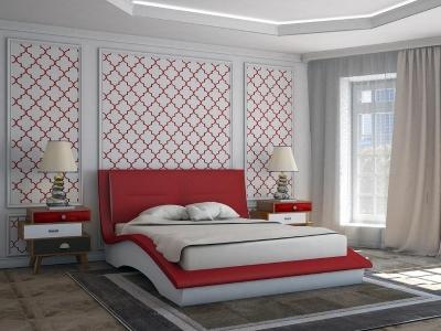 Кровать Derby красная спинка-белые царги