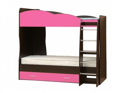 Кровать детская двухъярусная Юниор-2.1 Ярко-розовый