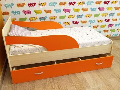 Кровать детская Максимка дуб-оранж