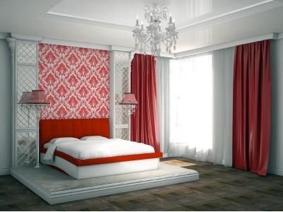 Кровать Domenic красная спинка-белые царги
