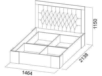Кровать двойная 1400 Лагуна 6 с основанием 1464х1150х2138