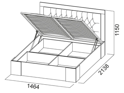 Кровать двойная 1400 Лагуна 6 с ПМ 1464х1150х2138