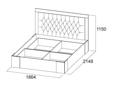 Кровать двойная 1800 Лагуна 6 с основанием 1864х1150х2148