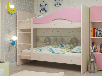 Кровать двухъярусная Мая дуб-розовый