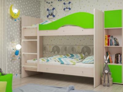 Кровать двухъярусная Мая дуб-зеленый