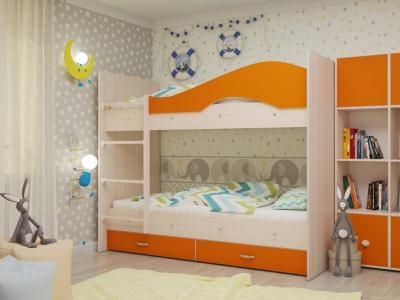 Кровать двухъярусная Мая с ящиками дуб-оранж