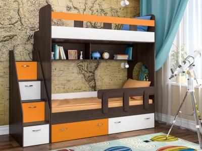Кровать двухъярусная Юниор 1 с бортиком бодего темный-белый-оранжевый