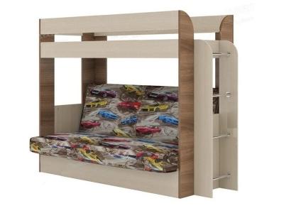 Кровать двухъярусная с диваном Карамель 75 Машины