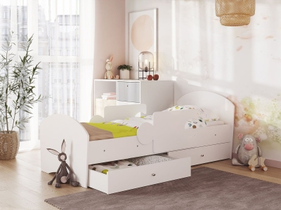 Кровать Мозаика на ламелях с ящиком и бортиками белый