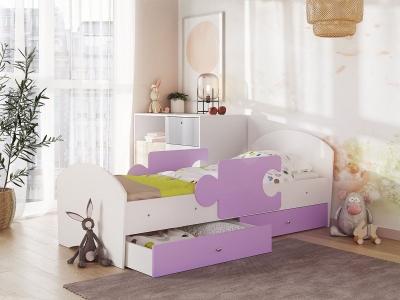 Кровать Мозаика на ламелях с ящиком и бортиками белый-ирис