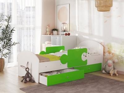 Кровать Мозаика на ламелях с ящиком и бортиками белый-лайм