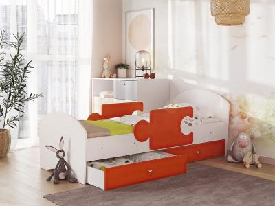 Кровать Мозаика на ламелях с ящиком и бортиками белый-оранж