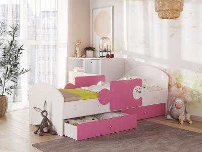 Кровать Мозаика на ламелях с ящиком и бортиками белый-розовый
