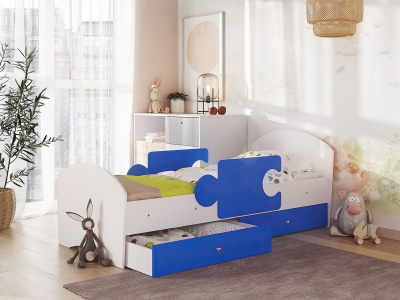 Кровать Мозаика на ламелях с ящиком и бортиками белый-синий