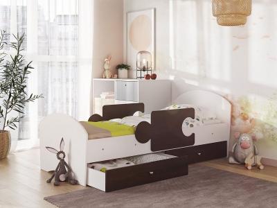 Кровать Мозаика на ламелях с ящиком и бортиками белый-венге