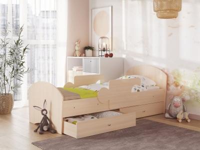 Кровать Мозаика на ламелях с ящиком и бортиками дуб молочный