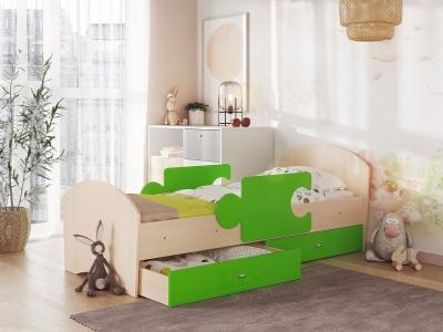 Кровать Мозаика на ламелях с ящиком и бортиками дуб молочный-лайм