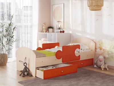 Кровать Мозаика на ламелях с ящиком и бортиками дуб молочный-оранж