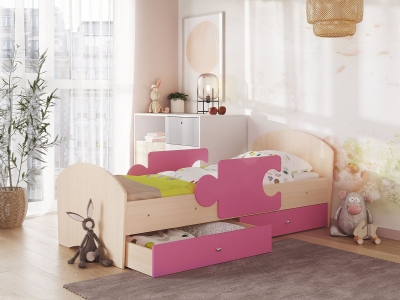 Кровать Мозаика на ламелях с ящиком и бортиками дуб молочный-розовый