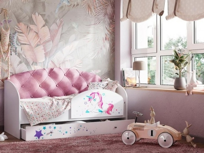 Кровать розовый бирюзовый с бортиком на щитах