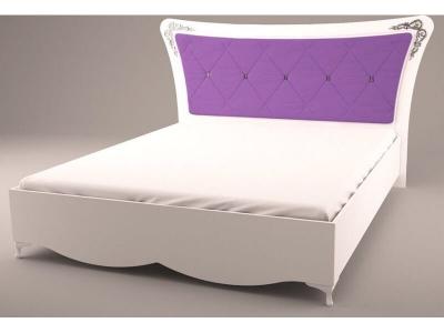 Кровать с мягкой спинкой Аделина А 2.0.5 Белый глянец-Серебро
