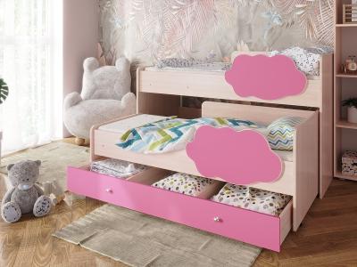 Кровать Соник с ящиком розовый