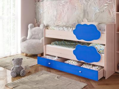 Кровать Соник с ящиком синий