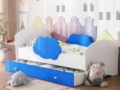 Кровать Тучка с ящиком белый-синий