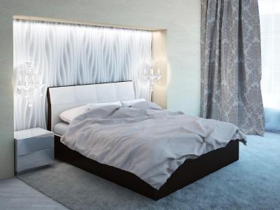 Кровать Visconti бежевая спинка-коричневые царги