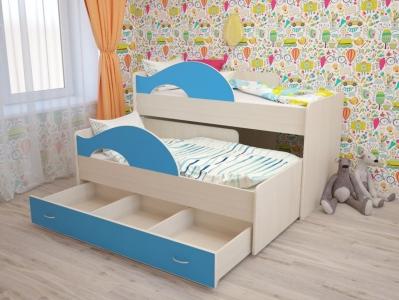Кровать выкатная Матрешка с ящиками синяя