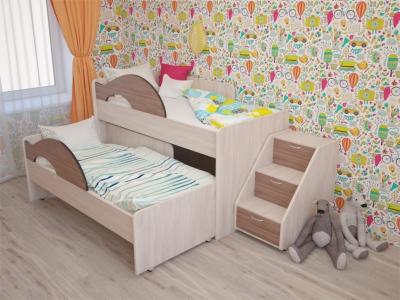 Кровать выкатная Матрешка с лесенкой ясень шимо