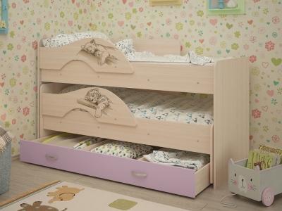 Кровать выкатная Матрешка-Сафари с ящиками дуб-ирис
