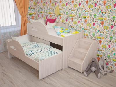 Кровать выкатная Радуга с лесенкой дуб