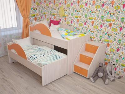 Кровать выкатная Радуга с лесенкой дуб-оранж
