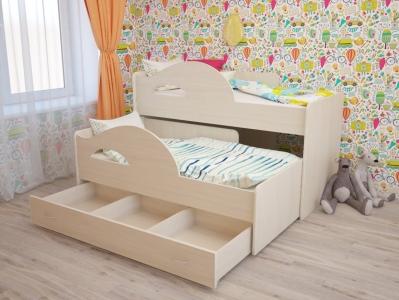 Кровать выкатная Радуга с ящиками дуб